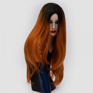 Long Center Parting Ombre Slightly Curly Synthetic Party Wig - JACINTH