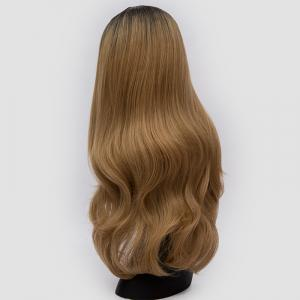 Long Center Parting Ombre Slightly Curly Synthetic Party Wig -