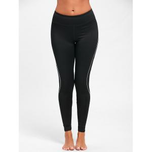 Midi Waist Contrast Tall Leggings for Yoga - BLACK XL