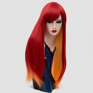 Long Side Bang Straight Synthetic Two Tone Party Wig -