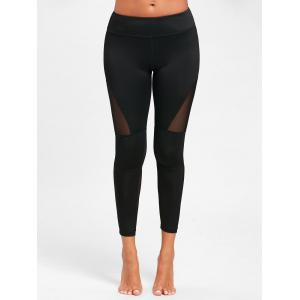 Midi Waist See Through  Mesh Insert Yoga Leggings - BLACK S