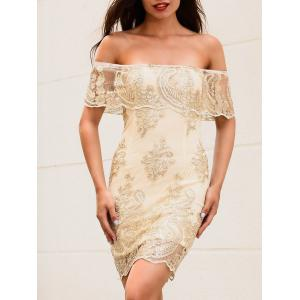 Off The Shoulder Embroidered Bodycon Dress - GOLDEN L