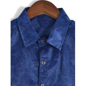 Long Sleeve Paisley Jacquard Shirt - BLUE L
