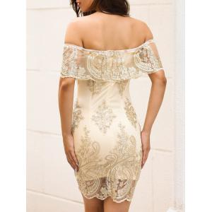Off The Shoulder Embroidered Bodycon Dress -