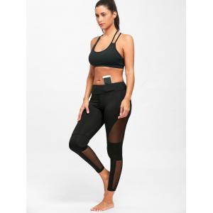 Midi Waist See Through  Mesh Insert Yoga Leggings - BLACK XL