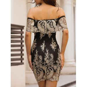 Off The Shoulder Embroidered Bodycon Dress - BLACK L