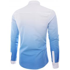 Ombre Graphic Print Long Sleeve Shirt - LIGHT BLUE 2XL