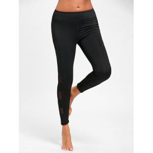 See Through Mesh Panel Yoga Leggings -