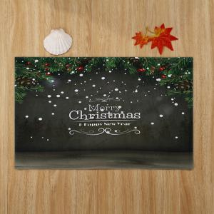 Merry Christmas Printed Coral Fleece Nonslip Bath Mat -