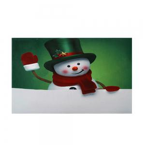 Christmas Hatted Snowman Pattern Anti-skid Water Absorption Area Rug -