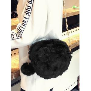 Pompom Chain Faux Fur Crossbody Bag - BLACK