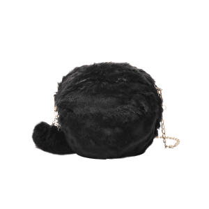 Pompom Chain Faux Fur Crossbody Bag -