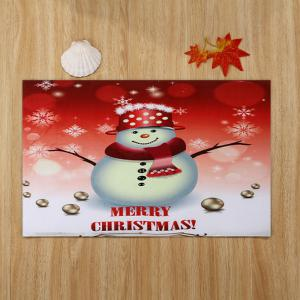 Snowman Merry Christmas Pattern Anti-skid Water Absorption Area Rug - COLORMIX W16 INCH * L24 INCH