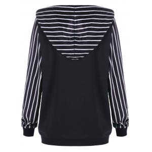 Plus Size Pullover Kangaroo Pocket Striped Hoodie -