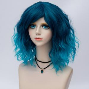 Medium Side Bang Ombre Water Wave Synthetic Party Cosplay Wig - BLUE