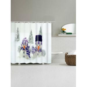 Snowman Couples Print Christmas Waterproof Shower Curtain - WHITE W71 INCH * L79 INCH