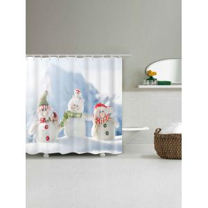 Snowman Family Print Polyester Waterproof Shower Curtain -