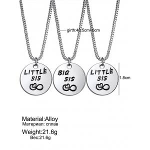 3PCS Engraved Sister Heart Box Chain Necklaces -