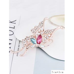 Faux Crystal Rhinestoned Butterfly Brooch -