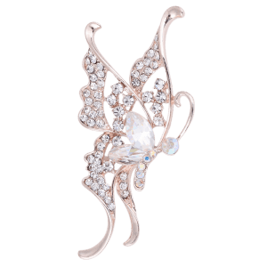 Faux Crystal Rhinestoned Butterfly Brooch - WHITE