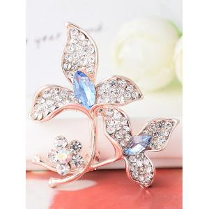 Faux Gem Rhinestoned Floral Sparkly Brooch -