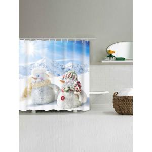 Two Snowmen Printed Polyester Waterproof Shower Curtain -