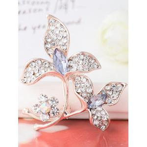 Faux Gem Rhinestoned Floral Sparkly Brooch - PURPLE