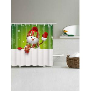 Snowman Print Polyester Waterproof Shower Curtain -