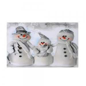 Christmas Snowmen Family Pattern Anti-skid Water Absorption Area Rug - GREY WHITE W16 INCH * L24 INCH