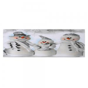 Christmas Snowmen Family Pattern Anti-skid Water Absorption Area Rug - GREY WHITE W16 INCH * L47 INCH
