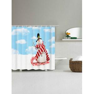 Waterproof Polyester Christmas Snowman Shower Curtain - CLOUDY W71 INCH * L79 INCH