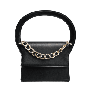 Chain PU Leather Handbag With Strap - BLACK