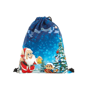 Drawstring Print Christmas Backpack - BLUE