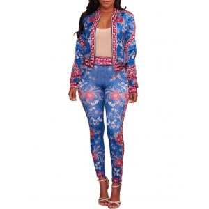 Floral Zip Jacket with Pants -