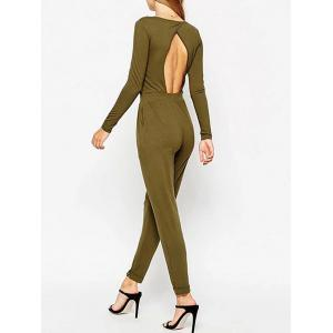 V Neck Back Cut Out Jumpsuit - ARMY GREEN L