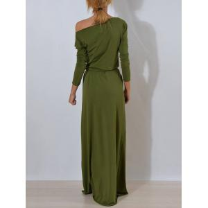Long Sleeve One Shoulder Maxi Dress - ARMY GREEN M