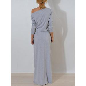 Long Sleeve One Shoulder Maxi Dress - GRAY L