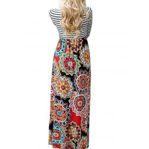 Long Tribal Flower Print Striped Dress - COLORMIX S