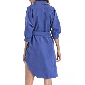 High Low Shirt Dress with Belt - ROYAL M