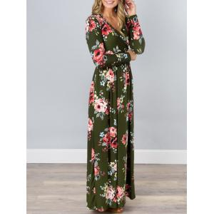 V Neck Floral Long Beach Dress - GREEN L