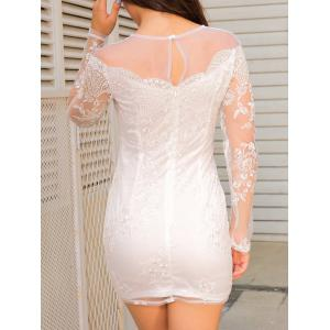 Sheer Long Sleeve Mini Lace Dress - WHITE M