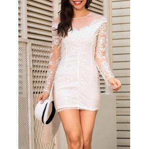 Sheer Long Sleeve Mini Lace Dress - WHITE L