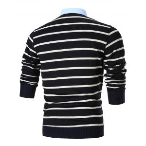 Fake Two Piece Stripe Cardigan - BLACK 2XL