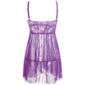 Lace Slip See Thru Babydoll - PURPLE M