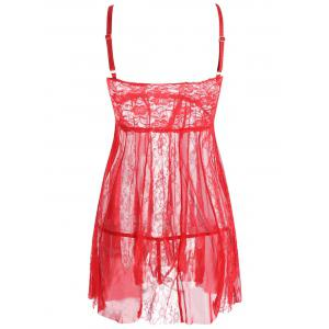 Lace Slip See Thru Babydoll - RED S