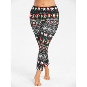 Plus Size Cute Father Christmas Printed Slim Pants - BLACK 4XL