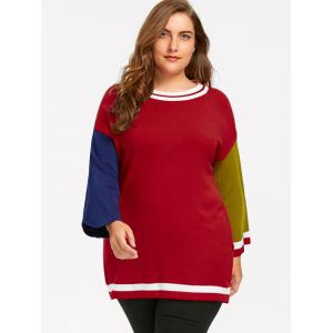 Plus Size Hit Color Long Sweater - RED 5XL