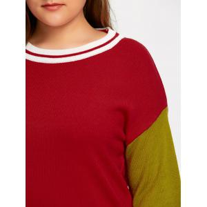 Plus Size Hit Color Long Sweater - RED 3XL