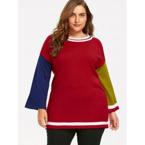 Plus Size Hit Color Long Sweater - RED 2XL