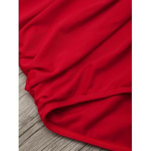 Halter One Piece Ruched Swimsuit - RED M